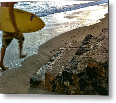 Surfer In Motion Metal Print by Kathy Corday