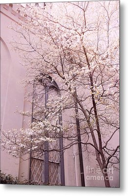 Surreal Dreamy Church Window With Pink Trees Metal Print by Kathy Fornal