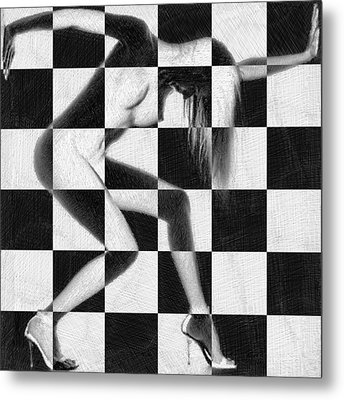 Survive Nude Woman Checkered 4 Metal Print