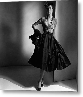 Suzy Parker Wearing A Dior Dress And Jacket Metal Print by Horst P. Horst