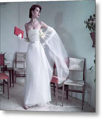 Suzy Parker Wearing A Gown By Christian Dior Metal Print by Frances Mclaughlin-Gill