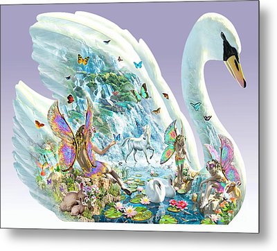 Swan Puzzle Metal Print by Adrian Chesterman