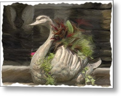 Swan With Beautiful Flowers Metal Print
