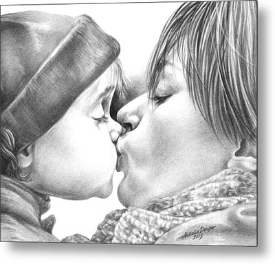 Metal Print featuring the drawing Sweet Kiss by Natasha Denger