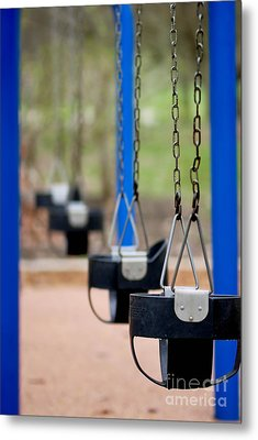 Swings In A Row Shallow Dof Metal Print by Amy Cicconi