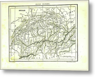 Switzerland, Map Metal Print by Litz Collection