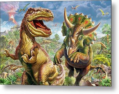 T-rex And Triceratops Metal Print
