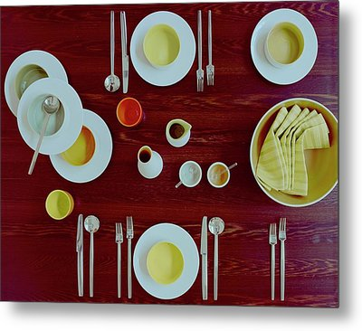 Tableware Set On A Wooden Table Metal Print