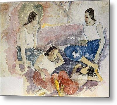 Tahitian Women, From Noa Noa, Voyage Metal Print by Paul Gauguin