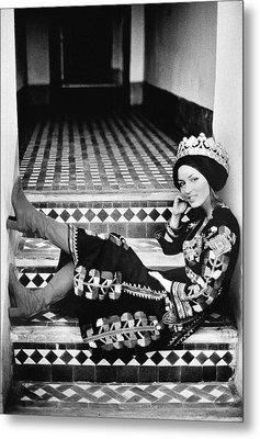 Talitha Getty Wearing A Berber Wedding Dress Metal Print by Maurice Hogenboom