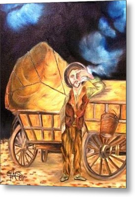 Metal Print featuring the painting Tattered Canvas Aka Romani Messiah by The GYPSY And DEBBIE