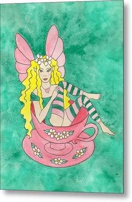 Tea Cup Fairy Metal Print