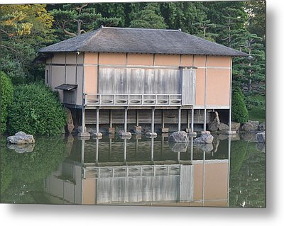 Tea House Reflections Metal Print by Bill Mock