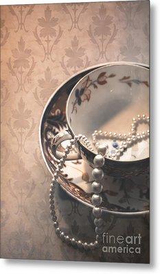 Teacup And Pearls Metal Print