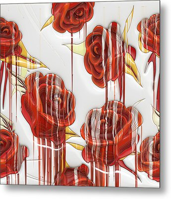 Metal Print featuring the digital art Tear-stained Roses by Liane Wright