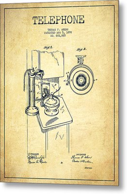 Telephone Patent Drawing From 1898 - Vintage Metal Print by Aged Pixel