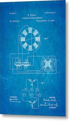 Tesla Electric Dynamo Patent Art 2 1888 Blueprint Metal Print by Ian Monk