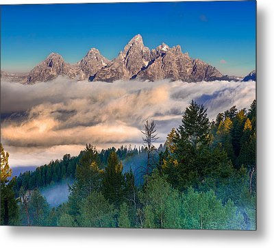 Tetons Above The Clouds Metal Print by Jerry Patterson