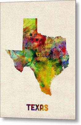 Texas Watercolor Map Metal Print by Michael Tompsett