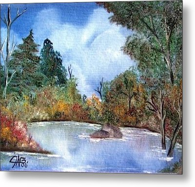 Metal Print featuring the painting That Emerald Place Of Natures Beauty At Looking Glass Pond by The GYPSY And DEBBIE