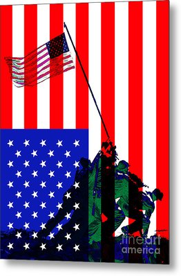 The American Flag Over Iwo Jima 20130210 Metal Print by Wingsdomain Art and Photography