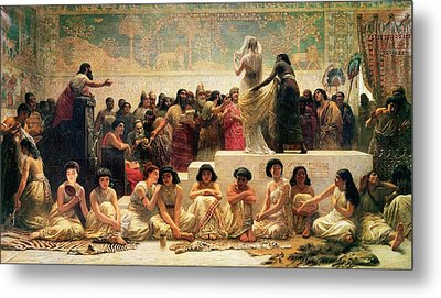 The Babylonian Marriage Market, 1875 Metal Print by Edwin Longsden Long