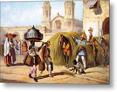 The Baker And The Straw Seller, 1840 Metal Print by Federico Mialhe