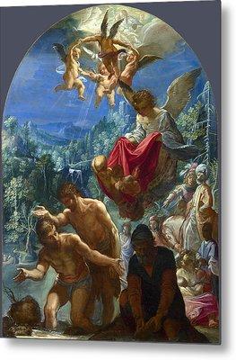 The Baptism Of Christ Metal Print by Adam Elsheimer