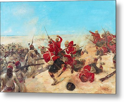 The Black Watch At The Battle Metal Print by Henri-Louis Dupray