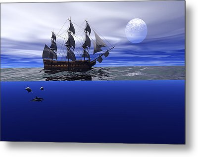 Metal Print featuring the digital art The Blue Deep by Claude McCoy