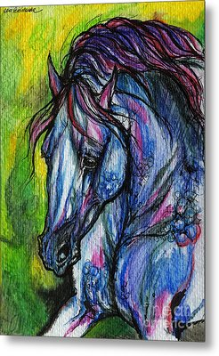 The Blue Horse On Green Background Metal Print by Angel  Tarantella