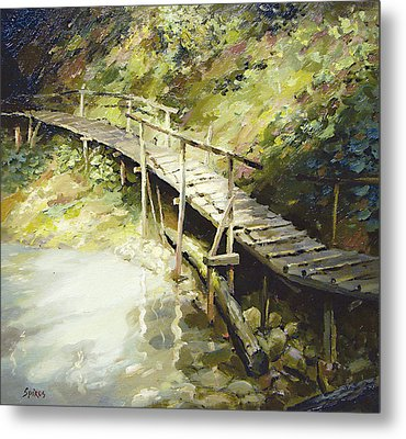 Metal Print featuring the painting The Bridge In The Mountains by Dmitry Spiros