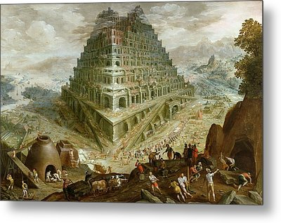 The Building Of The Tower Of Babel Metal Print by Marten van Valckenborch