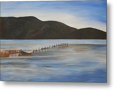 Metal Print featuring the painting The Calm Water Of Akyaka by Tracey Harrington-Simpson