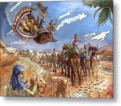 The Caravan In The Sahara Metal Print by Reynold Jay
