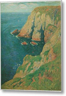 The Cliffs Of Stang Ile De Croix Metal Print by Henry Moret