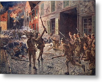 The Coldstream Guards At Landrecies Metal Print by William Barnes Wollen