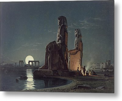 The Colossi Of Memnon, Thebes, One Metal Print by Carl Friedrich Heinrich Werner