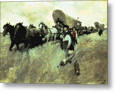 The Connecticut Settlers Entering Metal Print by Howard Pyle