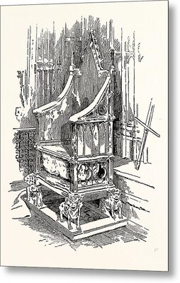 The Coronation Chair And Stone Of Destiny Westminster Abbey Metal Print by English School