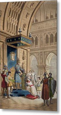 The Creating Of A Knight Templar Metal Print by Italian School