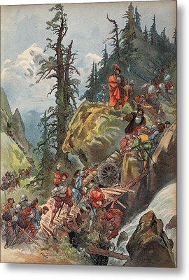 The Crossing Of The Alps, Illustration Metal Print by Albert Robida