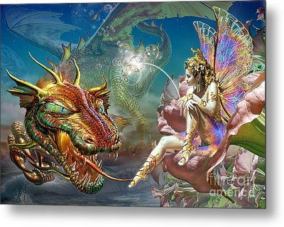 The Dragon And The Fairy Metal Print