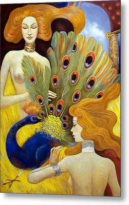 Metal Print featuring the painting The Dream Of A Peacock by Dmitry Spiros
