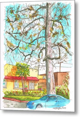 The Dry Tree In The Yellow House - Hollywood - California Metal Print by Carlos G Groppa
