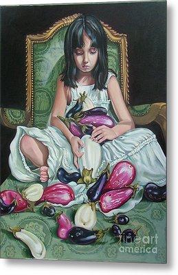 The Eggplant Princess Metal Print by Shelley Laffal