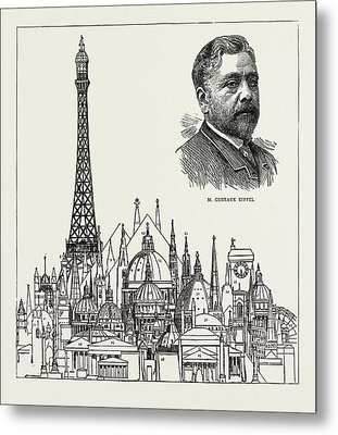 The Eiffel Tower At The Paris Exhibition As Compared Metal Print by Litz Collection