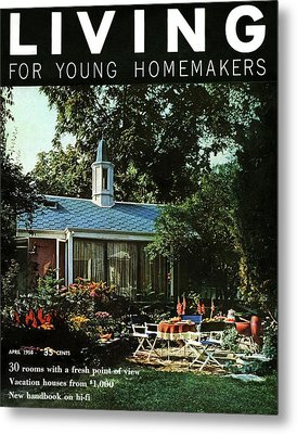 The Exterior Of A House And Patio Furniture Metal Print