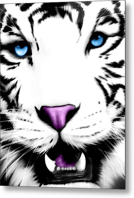 The Eye Of The White Tiger Metal Print by Gina Dsgn