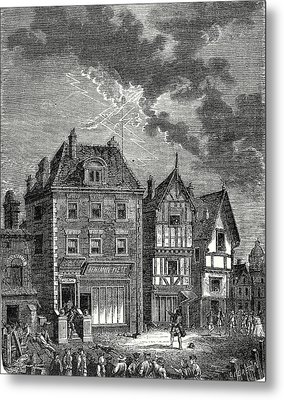 The First Lightning Rod Created By Franklin In Philadelphia Metal Print by English School